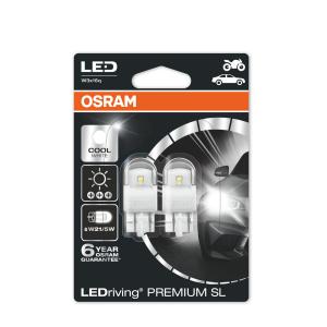 LED-poltinpari Osram PREMIUM, 6000K, T20 (W21/5W)