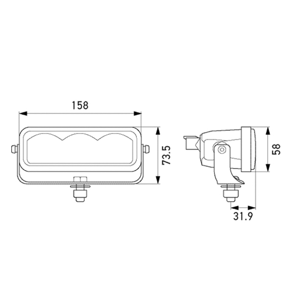 Lisävalo Hella Valuefit LBE 160 - Suora / 16 cm / 17W / Ref. 12.5
