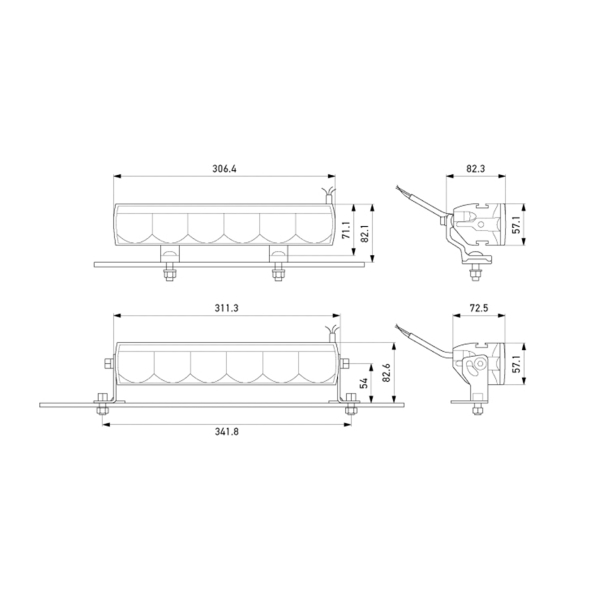 Lisävalo Hella Valuefit LBE 320 - Suora / 31 cm / 48W / Ref. 30