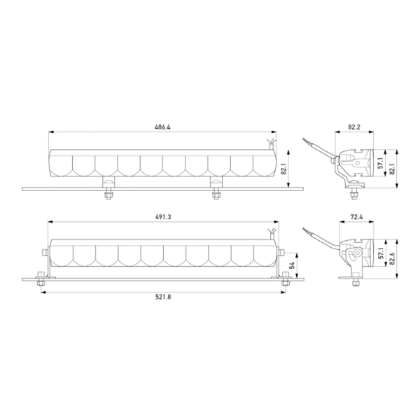 Lisävalo Hella Valuefit LBE 480 - Suora / 49 cm / 53W / Ref. 45