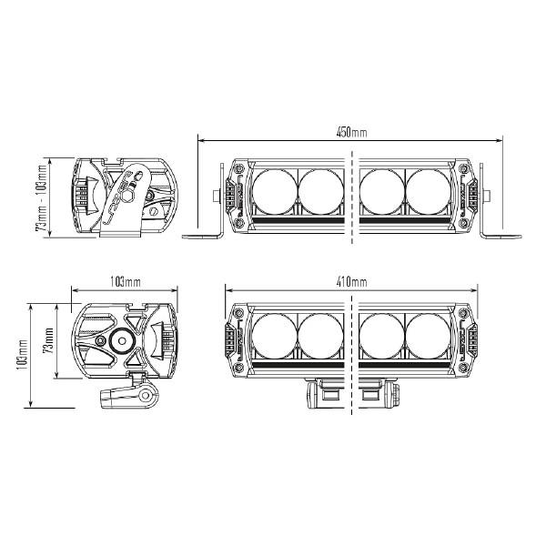 Lisävalo Lazer Triple-R 1000 Elite 3 - Suora / 40 cm / 92W / Ref. 40