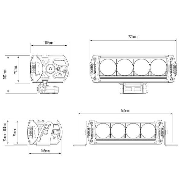 Extraljus Lazer Triple-R 750 - Rak / 22 cm / 40W