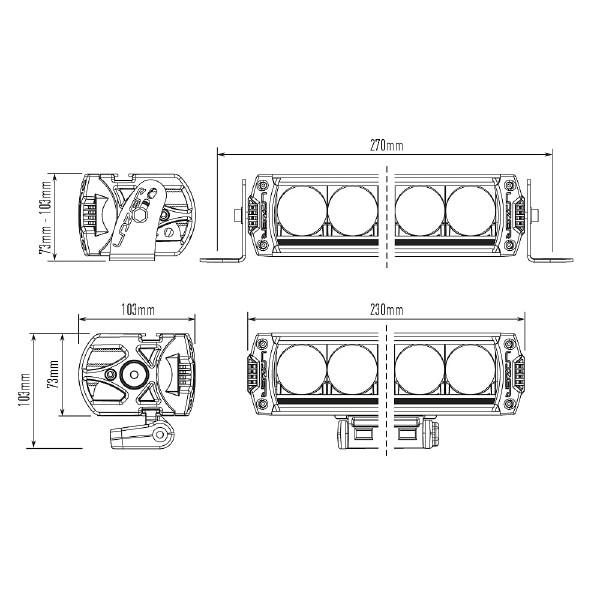 Lisävalo Lazer Triple-R 750 Elite 3 Titanium - Suora / 22 cm / 46W / Ref. 37.5