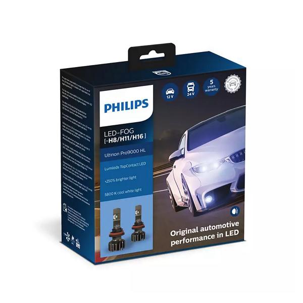 LED-sumuvalopolttimot PHILIPS Ultinon Pro9000 HL +250%, H8/H11/H16