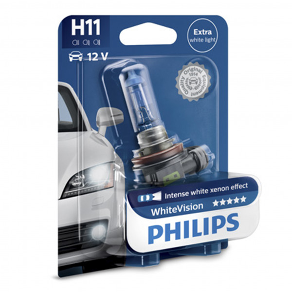 Halogeenipolttimo PHILIPS WHITE Vision, 55W, H11, 2 kpl