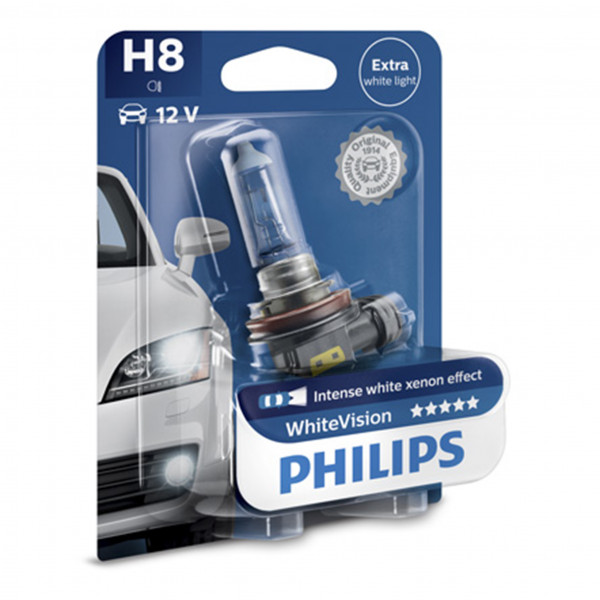 Halogeenipolttimo PHILIPS WHITE Vision, 55W, H8, 2 kpl