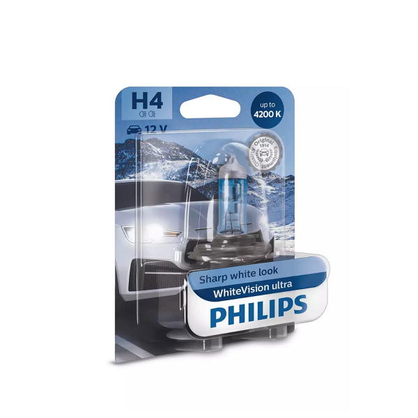 Halogeenipolttimo PHILIPS WhiteVision ultra, 55/60W, H4, 2 kpl