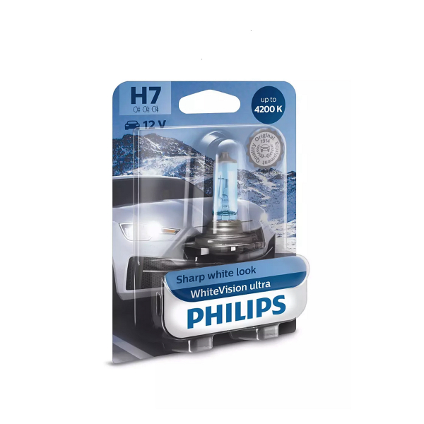 Halogeenipolttimo PHILIPS WhiteVision ultra, 55W, H7, 2 kpl