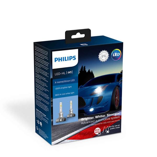 LED-ajovalopolttimot PHILIPS X-TremeUltinon +200%, H1
