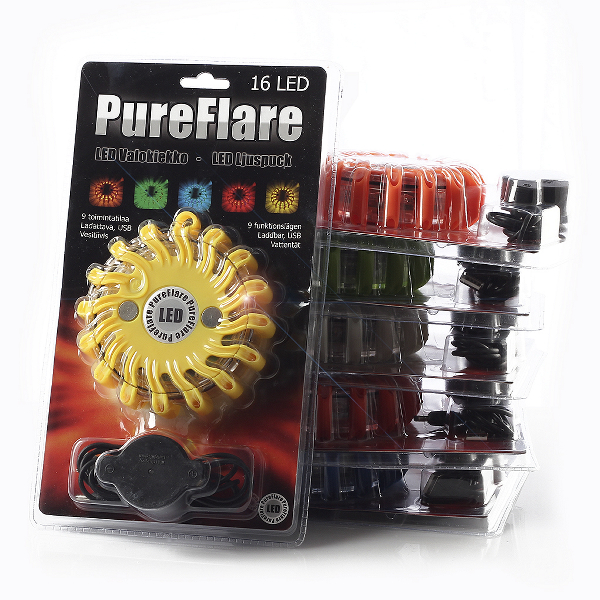 Laddbar LED-ljuspuck Pureflare, 16 LED, Orange