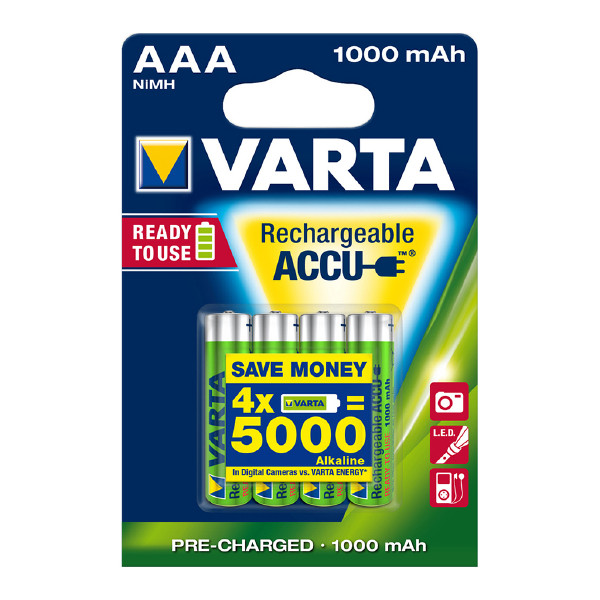 AAA-ladattava paristo VARTA Accu, 1000 mAh, 4 kpl
