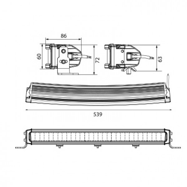 Lisävalo W-Light Comber 550 - Kaareva / 54 cm / 150W / Ref. 45