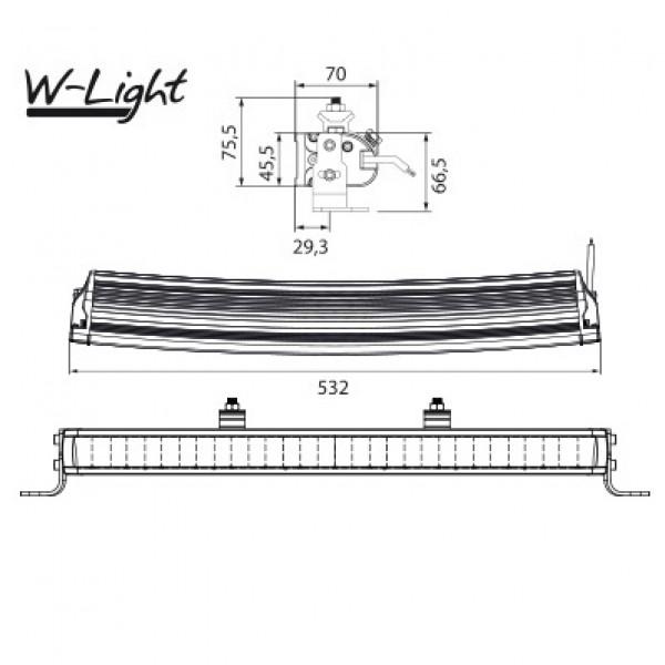 Extraljus W-Light Wave - Kurvad / 53 cm / 105W