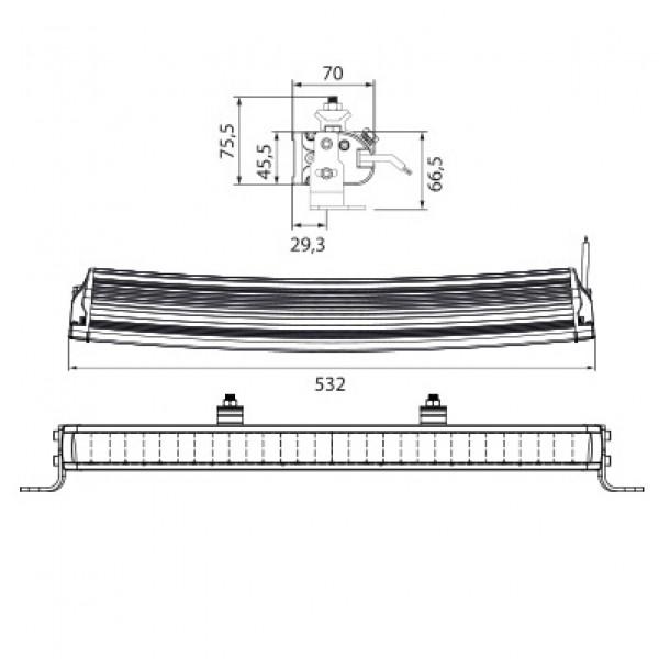 LED-BAR W-Light Wave - Buet / 53 cm / 105W / Ref. 45