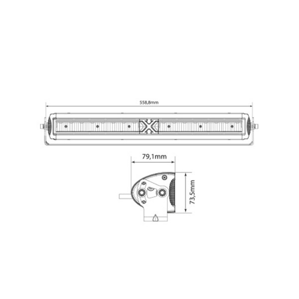 Lisävalo X-Vision Domibar X - Suora / 56 cm / 128W / Ref. 37.5