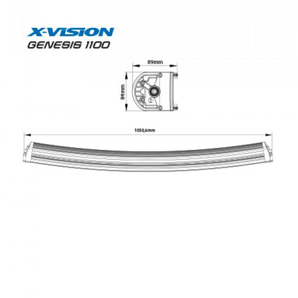 Extraljus X-Vision Genesis 1100 - Kurvad / 105 cm / 240W
