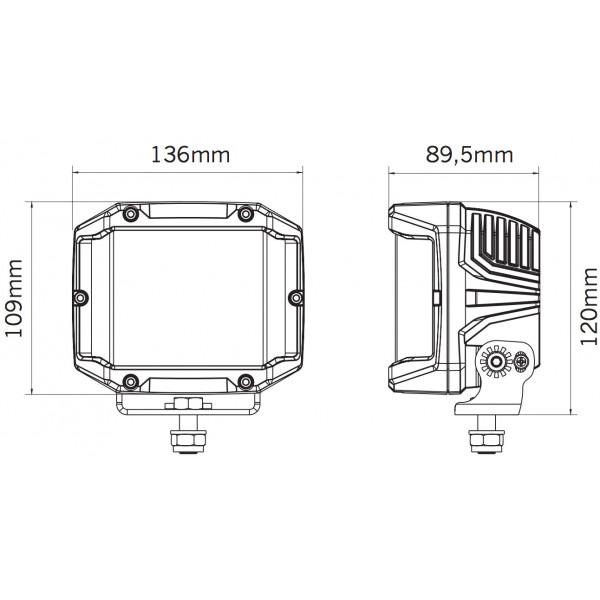 LED-Extraljus Strands Side Shooter XL - Fyrkantiga / 14 cm / 61W